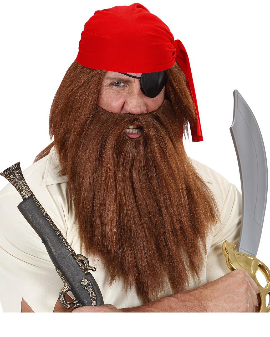 Pirate Beard Set Brown Carribean with Moustache Fancy Dress Costume Accessory Ne