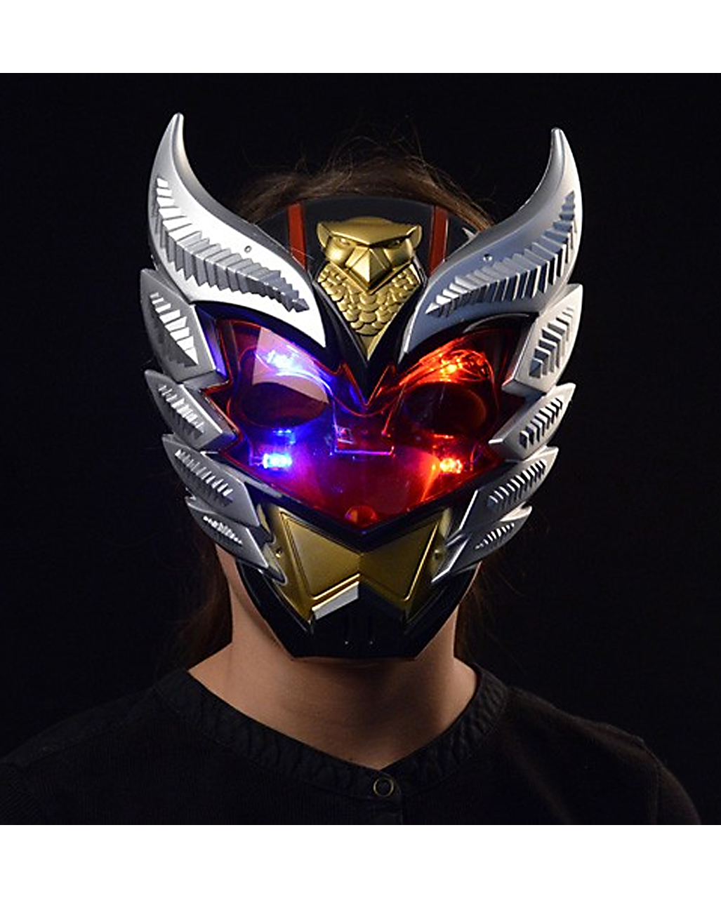 kinder roboter maske mit licht f r halloween horror. Black Bedroom Furniture Sets. Home Design Ideas