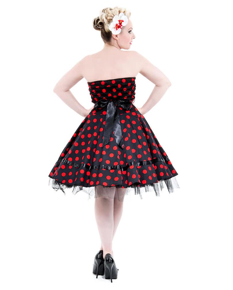 schwarzes bandeau kleid mit roten polka dots 50er jahre kleid horror. Black Bedroom Furniture Sets. Home Design Ideas