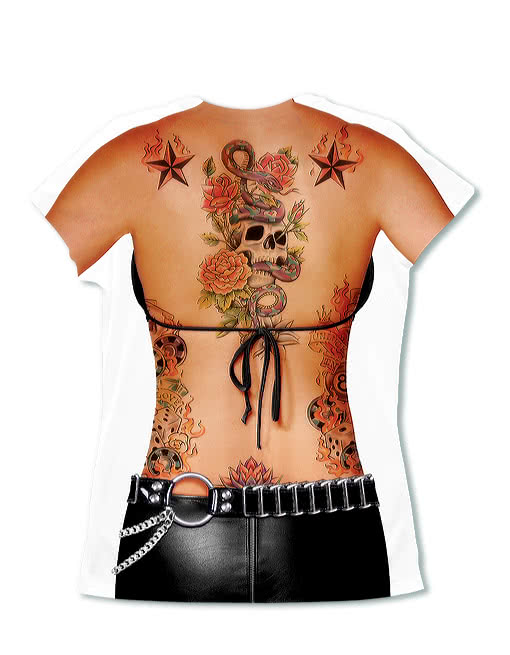 ladies 39 tattoo shirt fake tattoo ladies 39 t shirt tattoo. Black Bedroom Furniture Sets. Home Design Ideas