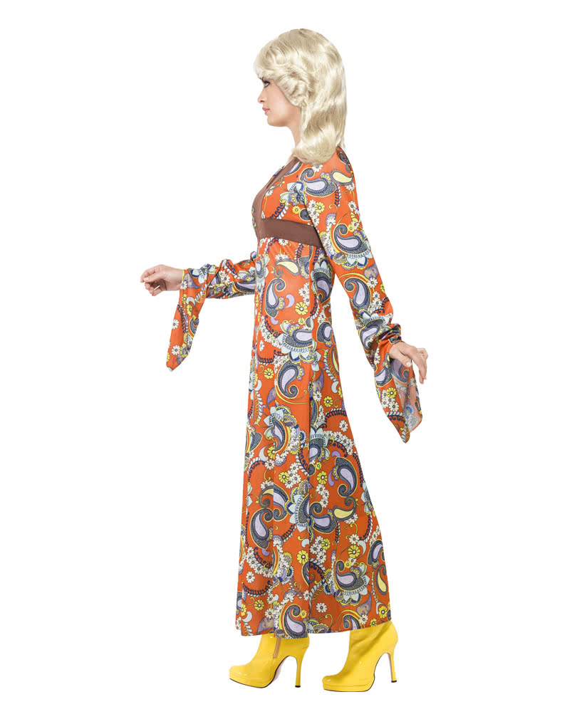 woodstock costume maxi long hippie dress with paisley