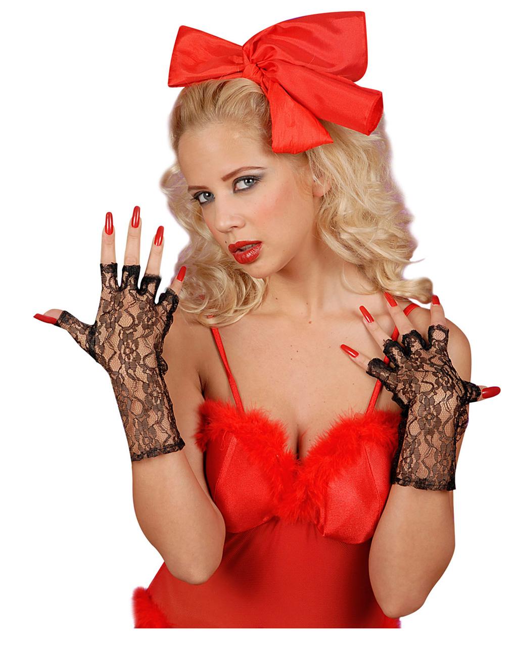 Women/'s Fancy Dress Short Black Finger Less Lace Gloves Wild Child Hen Party Fun
